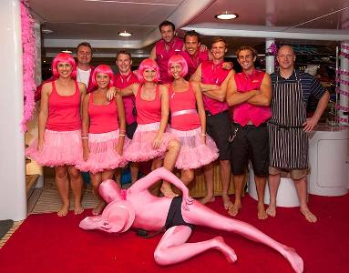 Yacht Lazy Z at the Antigua Yacht Club Marina with their Pink Cancer Awareness Charity Party