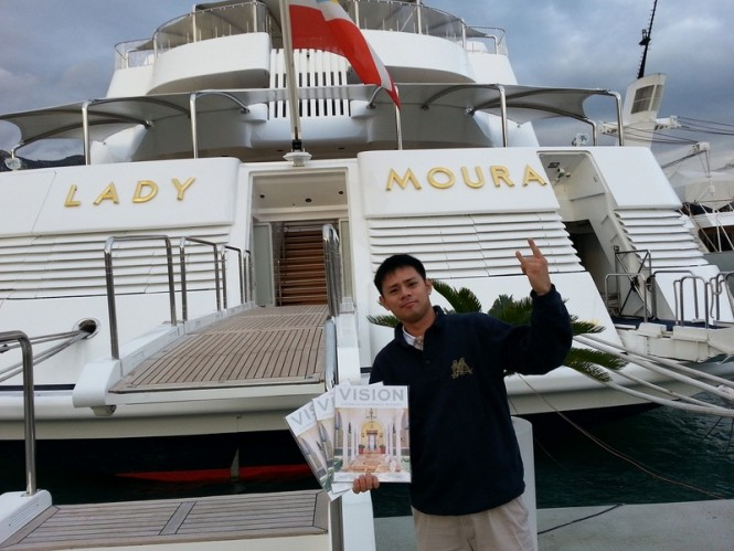 Yachting Pages Delivers delivering Burger Sotheby's Vision magazine to the 105m megayacht Lady Moura