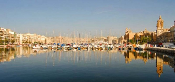 Yachts at Grand Harbour Marina situated in a beautiful Mediterranean yacht charter destination - Malta