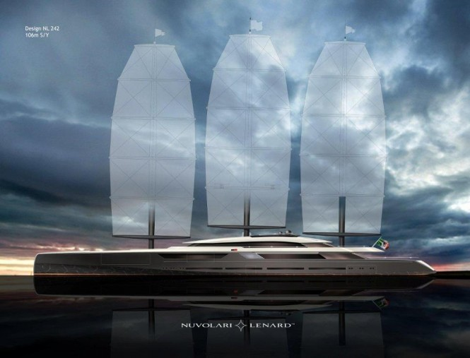 106 m sailing Yacht SOLAR project by Oceanco Designed by Nuvolari Lenard Design - Image courtesy of Nuvolari Lenard Design