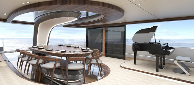 50 m Wilkinson and Foster Yacht Conversion Design - Dining