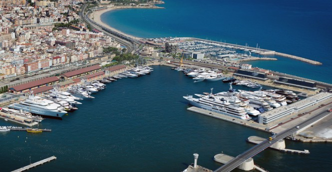Aerial view of Port Tarraco superyacht marina