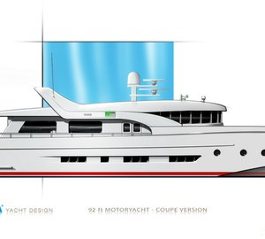 Coupe version of DIANA Blu yacht series by DIANA Yacht Design