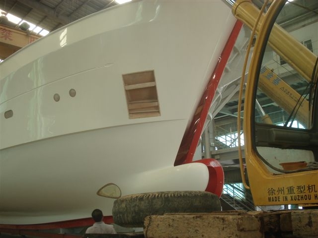 Hull of the 28m Selene 92 superyacht