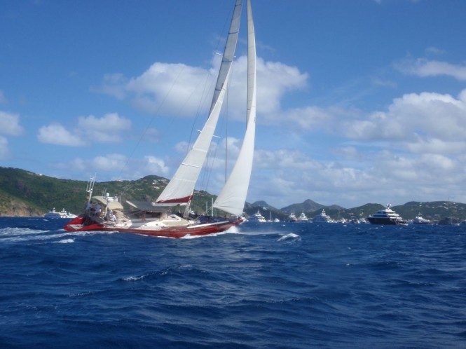 Lilla yacht under sail at St Barts
