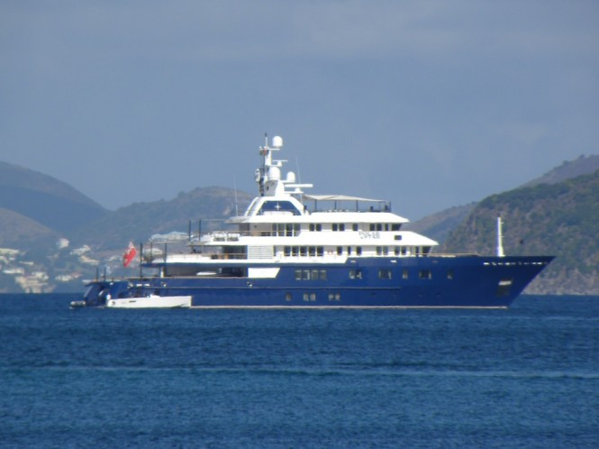 Luxury charter yacht POLAR STAR near Pinney's Beach on Nevis, Caribbean - Photo by Scott Henderson