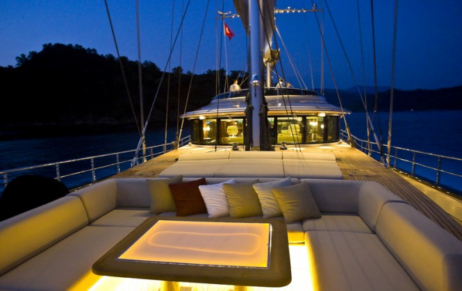 Luxury yacht 60 Years - fore deck at night