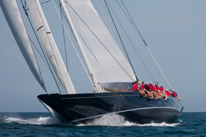 Luxury yacht HANUMAN racing in Newport - Photo Credit George Bekris