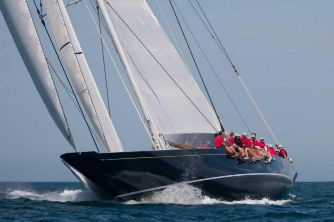 Luxury yacht HANUMAN racing in Newport - Photo Credit George Bekris