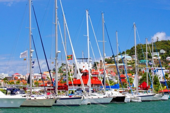 Luxury yachts anchored at Port Louis Marina