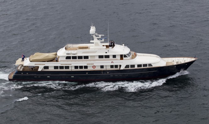 Pendennis refitted motor yacht A2 (ex Masquerade of Sole) on her Maiden Voyage