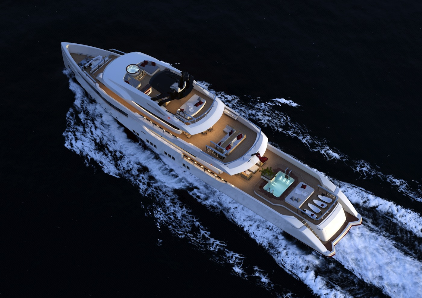 Rmk 5000 leisure yacht concept view from above new superyacht