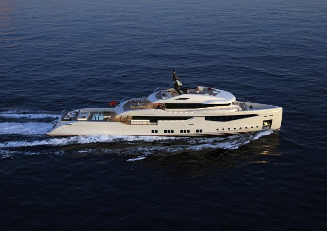 RMK 5000 True Luxury Explorer superyacht design - view from above