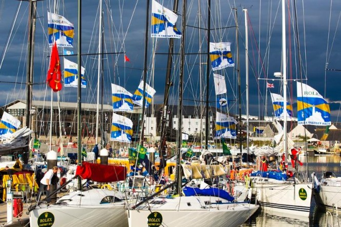 Rolex Fastnet Fleet at Sutton Harbour Marina in Plymouth, UK - Photo by Rolex Carlo Borlenghi