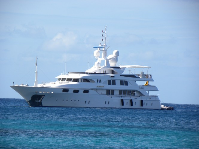 Starfire superyacht near Pinney's Beach on Nevis, Caribbean - Photo by Scott Henderson