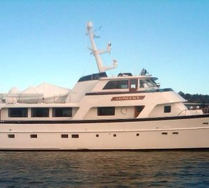 Burger Boat luxury yacht STONEFACE leaves Front Street Shipyard