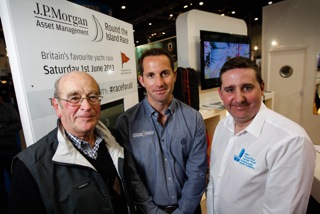 The Commodore of the Island Sailing Club, Rod Nicholls (left), joined Sir Ben Ainslie and Frank Fletcher from the Ellen MacArthur Cancer Trust at today's launch. Photo: Paul Wyeth