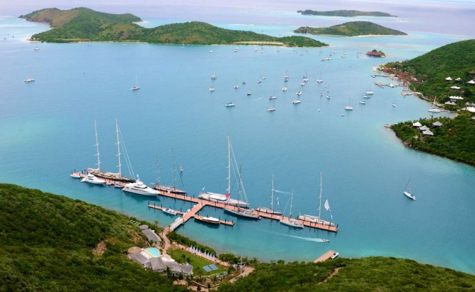 YCCS Clubhouse and Marina in Virgin Gorda's North Sound - Photo by Jeff BrownSYM