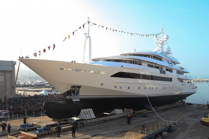 Zuccon designed 80 m CRN mega yacht Chopi Chopi at launch