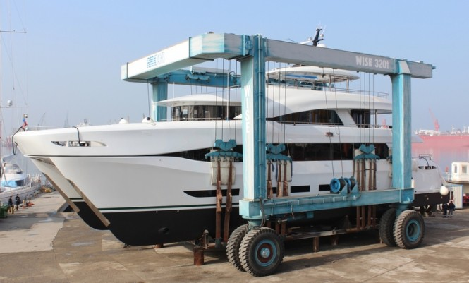 110ft catamaran yacht Quaranta at launch
