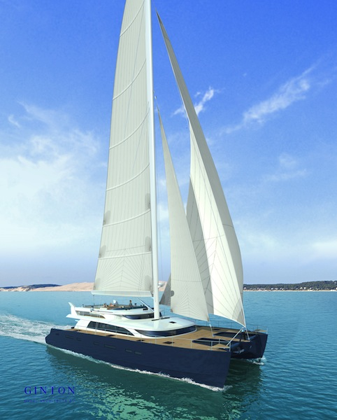 24m sailing catamaran yacht by Ginton Naval Architects