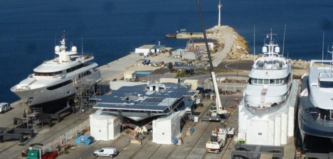 30m catamaran yacht Planet Solar under refit at Monaco Marine