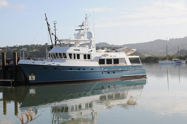 30m motor yacht Maverick afloat and ready to sail after being repainted at Oceania Marine