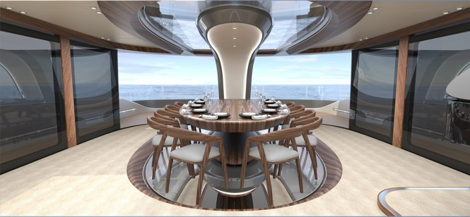 50 m Wilkinson and Foster Luxury Yacht Conversion Project - Dining