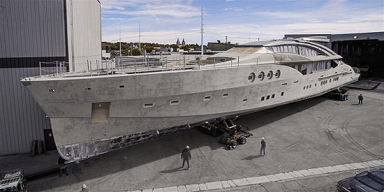 65 m Palmer Johnson mega yacht Project Stimulus under construction