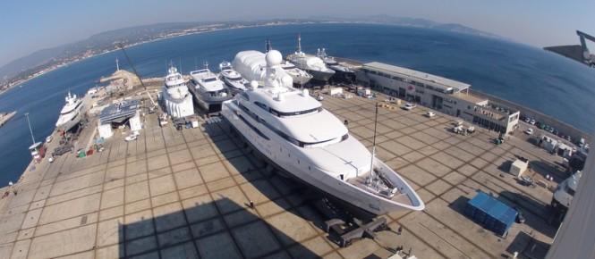 74m mega yacht Ilona under refit at Monaco Marine