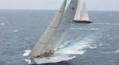 Close racing during the first night as the two majestic schooners Adela and Athos were virtually 'side by side' - Credit: RORC/Tim Wright/Photoaction.com 