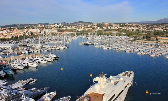 Aerial view of Antibes Yacht Show 2012