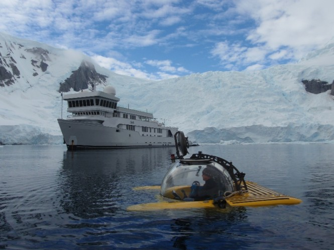 Antarctica - Triton Submersible and SuRi superyacht - Photo by Troy Engen