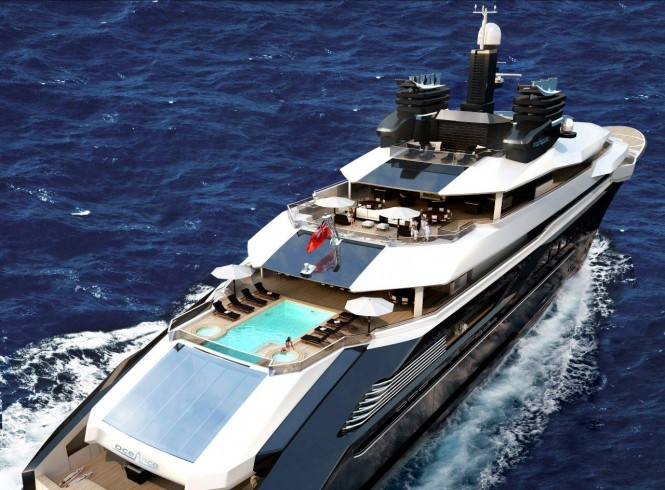 DP002 superyacht design - aft view