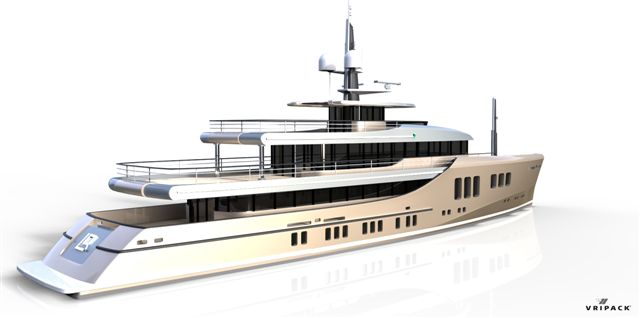 Exclusive renderings of the 50m Project Liquid by Vripack (a 50m version of the 85m Mega Yacht Project Liquid Silver)