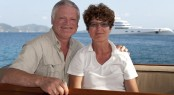 Frances and Michael on board Tenacious yacht in Deadman's Bay