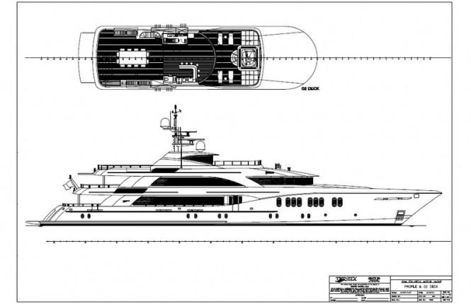 Hull T-062 superyacht - B&W Profile