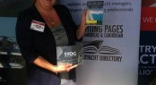 Kathleen is distributing copies of Yachting Pages and SYOG at Palm Beach Boat Show