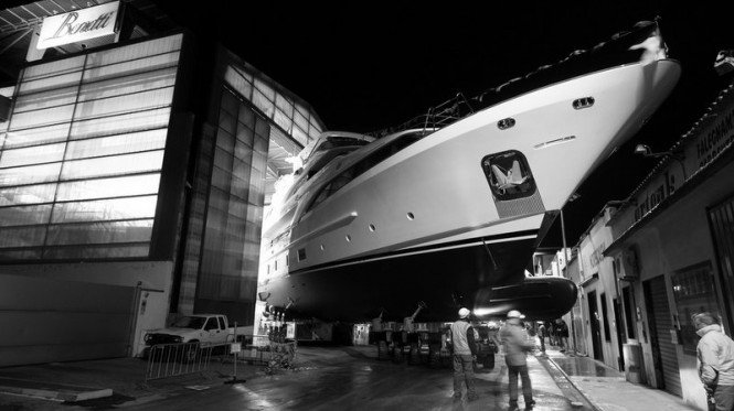 Luxury motor yacht Dyna at launch
