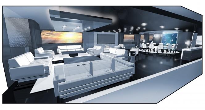 Luxury motor yacht Ruea 60 concept - Main Saloon