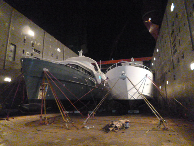 Luxury motor yachts Monte Fino 76 and Echo 85 being secured for the long sea voyage