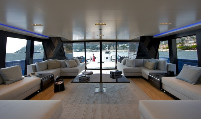 Luxury superyacht Better Place - Main salon looking aft - Photo by Toni Meneguzzo