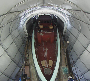 Fisheye image of the 40m Columbus Sport Hybrid Yacht in build at Columbus Yachts