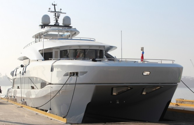 Luxury yacht Quaranta on the water