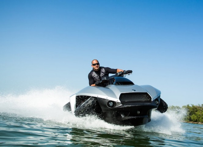 Highly innovative super yacht toy Quadski on the water