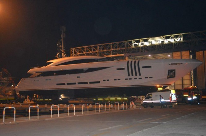 Rossinavi luxury yacht VELLMARI ready for her launch - Image courtesy of Rossinavi