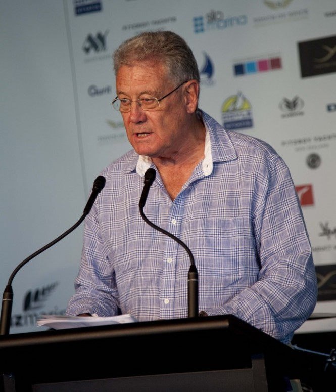 Sports Broadcaster Peter Montgomery announcing the prices