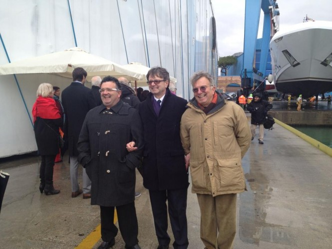 The Rossi brothers at the launch of the 48m Ketos motor yacht VELLMARI - Image courtesy of Rossinavi