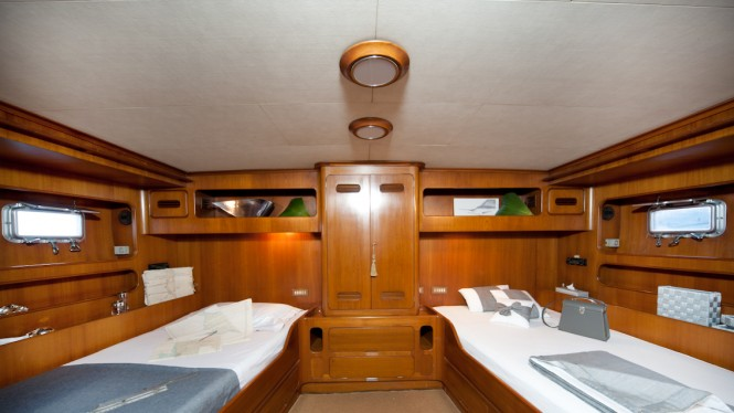 Twin guest cabin aboard My Lotty yacht