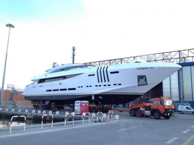 Vellmari superyacht on the day of her launch - Image courtesy of Rossinavi